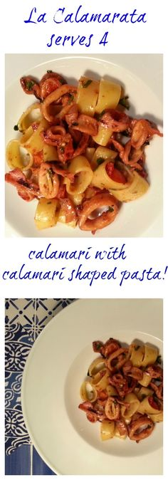 'La Calamarta' is a Neapolitan recipe with calamari (squid) and calamarata pasta, a particularly appetizing pasta that resembles squid rings. Visit the pasta project to see the whole recipe!