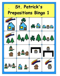 St. Patrick's Day Preposition Bingo--free download   - Pinned by @PediaStaff – Please Visit ht.ly/63sNtfor all our pediatric therapy pins