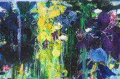 Private Garden Series by Caroline Havers, Irises - How Can I Tell You, cm, ft, mixed media on two panels Elements Of Art Line, Paintings I Love, Abstract Paintings, Floral Paintings, Abstract Art, Private Garden, Abstract Flowers, Art Portfolio, Pretty Art