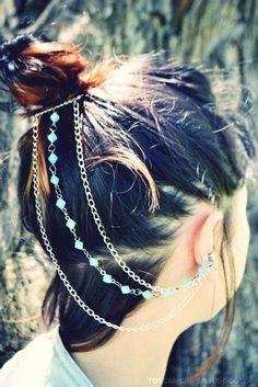 Silver Chain Ear Cuff- Blue Beaded. $21.00, via Etsy.