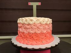 Pink Ombre in White Chocolate Icing White Chocolate Icing, Cakes, Desserts, Pink, Food, Food Cakes, Tailgate Desserts, Meal, White Chocolate Frosting