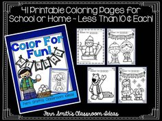 Winter Fun! Color For Fun Printable Coloring Pages ~ 41 pages are less than 10 cents a page. #TPT $Paid