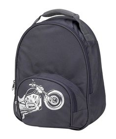 BIKER KIDS TODDLER BACKPACK  The Biker Toddler Backpack is a slate gray backpack screened with a half tone silver motorcycle. This cool toddler