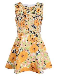 Shop Orange Floral Jacquard Sleeveless Skater Dress from choies.com .Free shipping Worldwide.