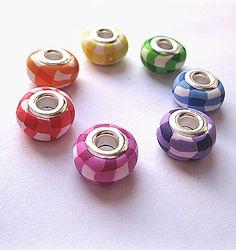 7 Rainbow Gingham Handmade Polymer Clay Pandora Beads £4.00