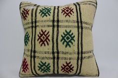 Turkish Kilim Pillow Multicolour pillow 16x16 Embroidered Kilim Pillow floor pillow  Cushion Cover throw pillow natural pillow SP4040-954