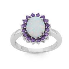 La Preciosa Sterling Silver White Opal & Purple CZ Ring Heart: Size 9 - Walmart.com