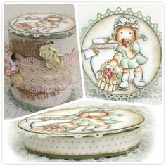 """Gift Box by LLC DT Member Elizabeth Elton Hagen, using Magnolia's """"Strawberry Tilda"""" and papers from Pion Design's """"Fairytale of Spring"""" collection."""
