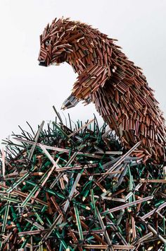 "In his series ""Pencilism"", Miami-based artist Federico Uribe does amazing sculptures of pencils with different colors. The sculptures are so detailed that they look sometimes like classical paintings and landscapes, animals and humans' sculptures in Conceptual Artist, Sculptures, Drawings, Colored Pencils, Love Drawings, Sculpture, Latino Artists, 3d Drawings, Art World"