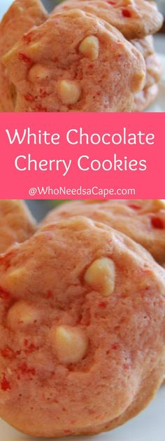 White Chocolate Cherry Cookies are the perfect sweet dessert treat for Valentine's Day! With cherries and white chocolate this is one tasty cookie. Great Desserts, Cookie Desserts, Dessert Recipes, Cookie Recipes From Scratch, Healthy Cookie Recipes, Cooking Recipes, Homemade Cookies, Yummy Cookies, Chocolate Cherry Cookies