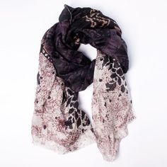 Silk Scarf Black/Beige/Purple now featured on Fab.