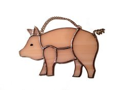 Stained Glass Pig Suncatcher by QTSG on Etsy