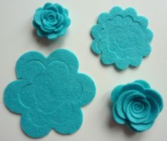 Sizzix die cut ~ 8 TURQUOISE FELT MAKE YOUR OWN 3 D FLOWERS ~ cardmaking,fabric
