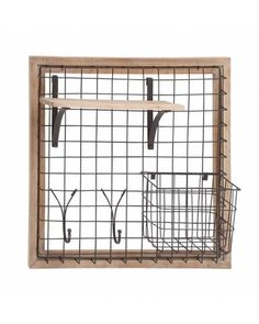 Metal Wire Storage with Hooks Wooden Framed Wall Rack will be a perfect addition for your storage and can be used for multipurpose task. Made of quality metal and wood, this wall rack will last for years. This wall rack features sections to store any random things in the wired basket and wooden shelf.