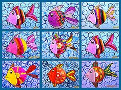 Plastiquem: Gorgeous fish paintings - bubble background