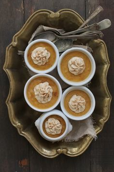 Caramel Pumpkin Pots de Creme #holidayentertaining #thanksgiving #givingthanks #november #holidays #thanksgivingideas #thanksgivingcrafts #thankful #thanks #thanksgivingrecipes www.gmichaelsalon... #diy #crafting #recipes #forthehome #holidaydecorating #holidaydecor #harvest #autumn