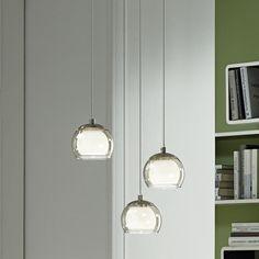 Geschmackvolle LED Pendelleuchte Ascolese aus Stahl/Glas...