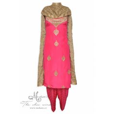 Pretty magenta unstitched suit adorn in rich ornate embroidery-Mohan's the chic window Indian Dresses, Indian Outfits, Designer Punjabi Suits, Indian Party Wear, Indian Ethnic Wear, The Chic, Elegant Woman, Indian Fashion, Tunic Tops