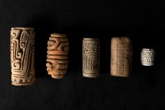 A SET OF ROLLER SEALS FOR TATTOOING - COLOMBIA - TUMACO CULTURE - 500 BC AD 500, Height: 9 cm the tallest.