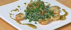Risotto a la chlorophylle d'herbes, langoustines et legumes (Risotto a la clorofila de hierbas, langostinos y verduras)