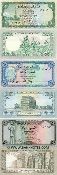 Yemen (1973) 1 Rial (mosque, coffee plants); 10 Rials (King Dhamer Ali, Palace in Sana'a); 50 Rials (Ma'adkarib statue, Bab Al-Yemen Gate).