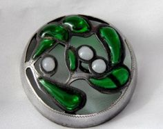 Antique Plique-A -Jour Button - Green and White Enamel Set in Silver