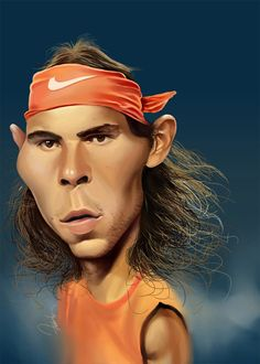 Caricaturas de Roger Federer, Rafael Nadal y otras celebridades