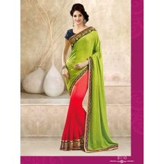 Designer Green & Peach Color Party Wear Saree Designed By Being Fashion.