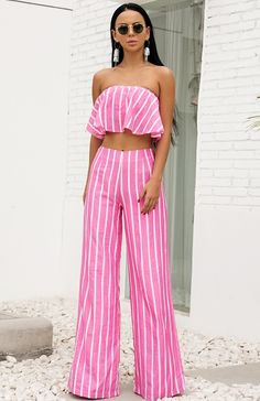 Miami Lover Pink White Vertical Stripe Pattern Strapless Ruffle Crop Top High Waist Wide Leg Loose Pant Jumpsuit Two-Piece Set Two Piece Jumpsuit, Pink Jumpsuit, Crop Top Outfits, Summer Outfits, Cute Outfits, 2 Piece Outfits, Two Piece Outfit, Loose Pants, Wide Leg Pants