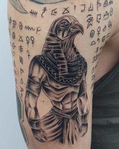 "Explore creative board ""Egyptian Tattoos"" on creativetatto. See more ideas about Egyptian tattoo, Tattoos and Egypt tattoo. Dragon Sleeve Tattoos, Skull Tattoos, Leg Tattoos, Arm Tattoo, Body Art Tattoos, Tattoos For Guys, Script Tattoos, Hamsa Tattoo, Arabic Tattoos"