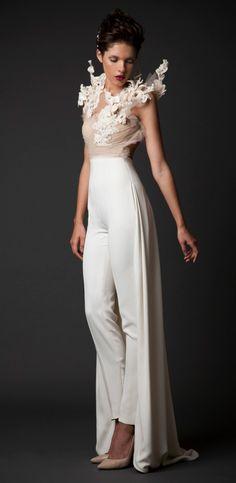 Krikor Jabotian Fall-Winter 2014-15 cream/nude color unique wedding panthsuit dress 2