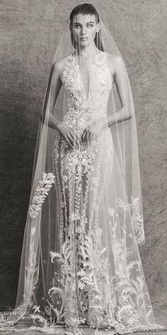 zuhair murad fall 2018 bridal sleeveless illusion bateau deep v neck full embellishment glamorous elegant fit and flare sheath wedding dress with cape sweep train (4) mv  -- Zuhair Murad Fall 2018 Wedding Dresses