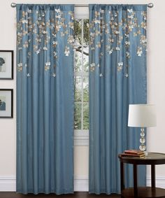 Beautiful and kind of Asian looking! Blue Flower Drop Curtain Panel by Lush Decor