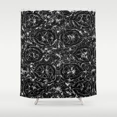 Black and white astral paint pattern shower curtain