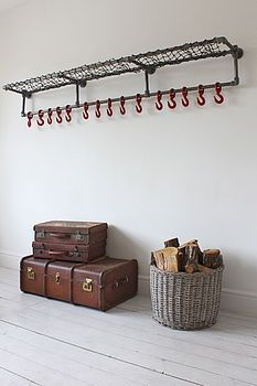 "Industrial Steel Pipe Luggage and Coat Rack/Hooks as featured on ""BBC's Master Chef - The Professionals - Bespoke Industrial Domestic Fixtures and Fittings. Their vintage industrial design works perfectly in a. Design Industrial, Vintage Industrial, Industrial Coat Rack, Industrial Pipe, Decorative Coat Hooks, Casa Retro, Pan Storage, Pipe Rack, Pipe Shelves"