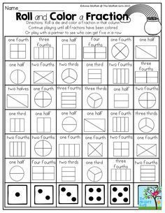 This is a great activity when teaching fractions. It lets students play a fun game with a partner and learn about fractions at the same time. I also think one student could roll 2 die and try and get all the fractions with those die. Teaching Fractions, Math Fractions, Teaching Math, Equivalent Fractions, 3rd Grade Fractions, Fractions For Kids, Dividing Fractions, Ordering Fractions, Comparing Fractions