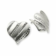 SilberDream earring Heart, mattfinished, diamond cutted, 925 Sterling Silver SDO312 SilberDream Charms. $19.45