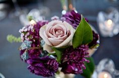 Vintage Green Pink Purple Silver Centerpiece Fall Winter Wedding Flowers Photos & Pictures - WeddingWire.com