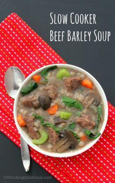 Slow Cooker Beef Barley Soup |ShockinglyDelicious.com