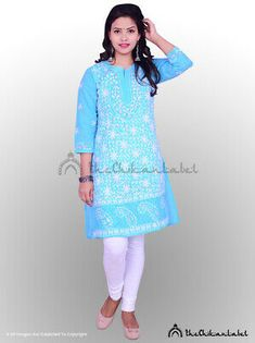 Details about  /Diwali Wear Chikan kari Embroidered Kurta Ethnic Wear Cotton Front Button Kurti