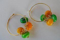 Gold Hoop Earrings with Shells Shell Beaded earrings by JoJosgems