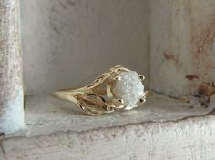 14 k yellow gold-Bright rose-Unconventional-Mounted-snow white- raw rough diamond - solitaire-promise- engagement ring-hand hammered
