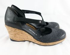 5905a59ee477 Teva Size 8 Riviera Wedge MJ Black Women Wedge Leather Canvas Shoes Cross  Strap