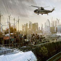 Cyberpunk Atmosphere, Future London, Futuristic City, Future Architecture. Architectural Photography: Simon Kennedy. Designer: Factory Fifteen