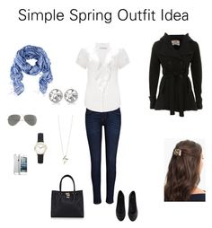 """""""Simple Spring Outfit Idea"""" by katestevens ❤ liked on Polyvore featuring H&M, River Island, John Lewis, Parisian, Warehouse, Timex, L. Erickson and J.Crew"""