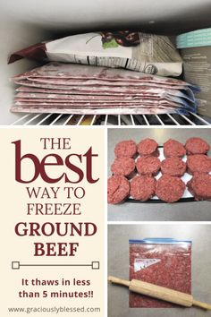 The BEST way to freeze ground beef! It thaws in less than 5 minutes! The BEST way to freeze ground b Beef Freezer Meals, Freezable Meals, Freezer Friendly Meals, Crock Pot Freezer, Freezer Cooking, No Cook Meals, Cooking Tips, Easy Cooking, Freezer Hacks