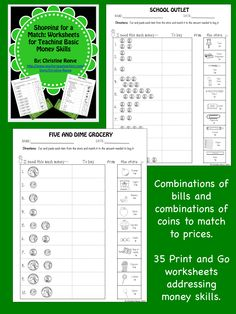 Perfect for this busy time of year--35 Print and Go money worksheets.  These worksheets are designed to allow students to practice money skills with simple combinations of coins and combinations of bills. $5