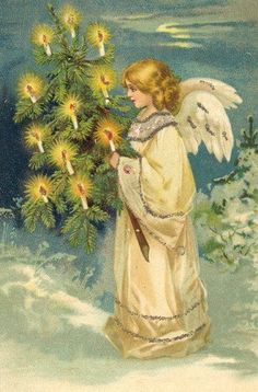 Vintage Christmas Angels - Victorian Angels - The Gallery - Image 17 Vintage Christmas Images, Victorian Christmas, Christmas Pictures, Illustration Noel, Christmas Illustration, Christmas Past, Christmas Angels, Vintage Cards, Vintage Postcards