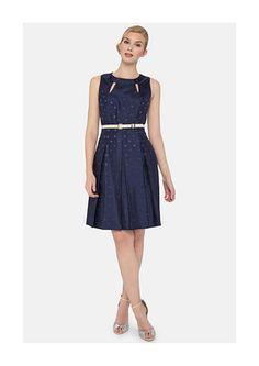 Tahari Belted Polka Dot Shantung Fit & Flare Dress - on #sale 61% off @ #NordstromRack  #Tahari