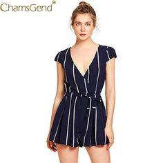 2980b509603 Chamsgend Women OL Fashion Summer Shorts Rompers Jumpsuit Blouse Lady Short  Sleeve V Neck Striped Playsuit